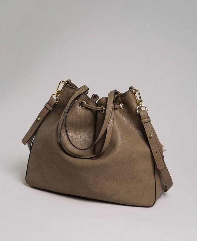 Large faux leather bucket bag Turtledove Woman 192TA7144-04