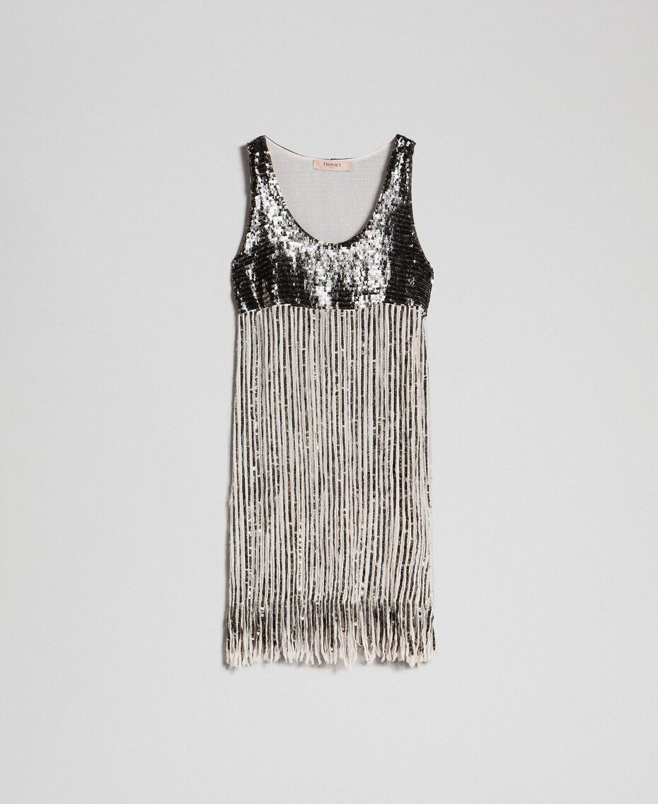 Georgette dress with sequins and fringes Dark Gold Sequin Embroidery Woman 192TT2482-0S