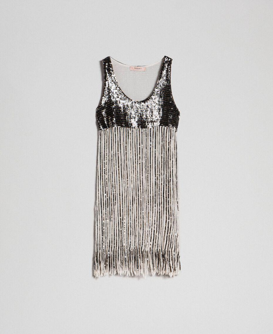 Платье из жоржета с пайетками и бахромой Вышивка Пайетки Темное Золото женщина 192TT2482-0S