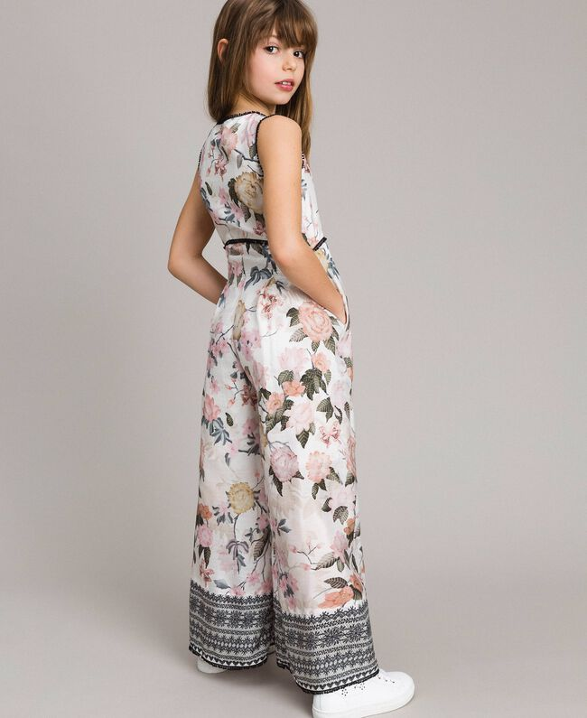 Floral viscose jumpsuit with lace print Ramage Butterfly Print Child 191GJ2523-04