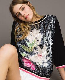 Pailletten-Pullover mit kontrastierenden Verzierungen Multicolour Black / Motiv Schwarze Blumen Frau 191MT3110-04