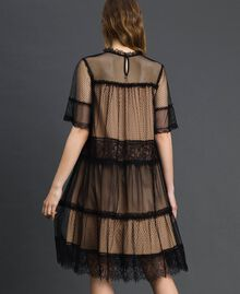 Tulle, Valenciennes lace and plumetis dress Two-tone Black / Nude Woman 192TP2331-03