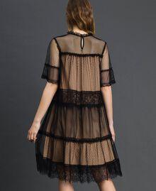 Robe en tulle, dentelle de Valenciennes et plumetis Bicolore Noir / Nude Femme 192TP2331-03