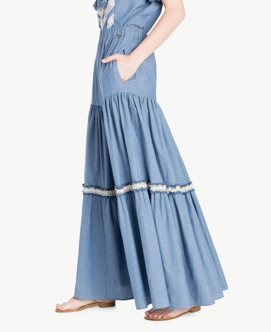 Jupe longue dentelle Denim Bleu Clair Femme TS82YK-02