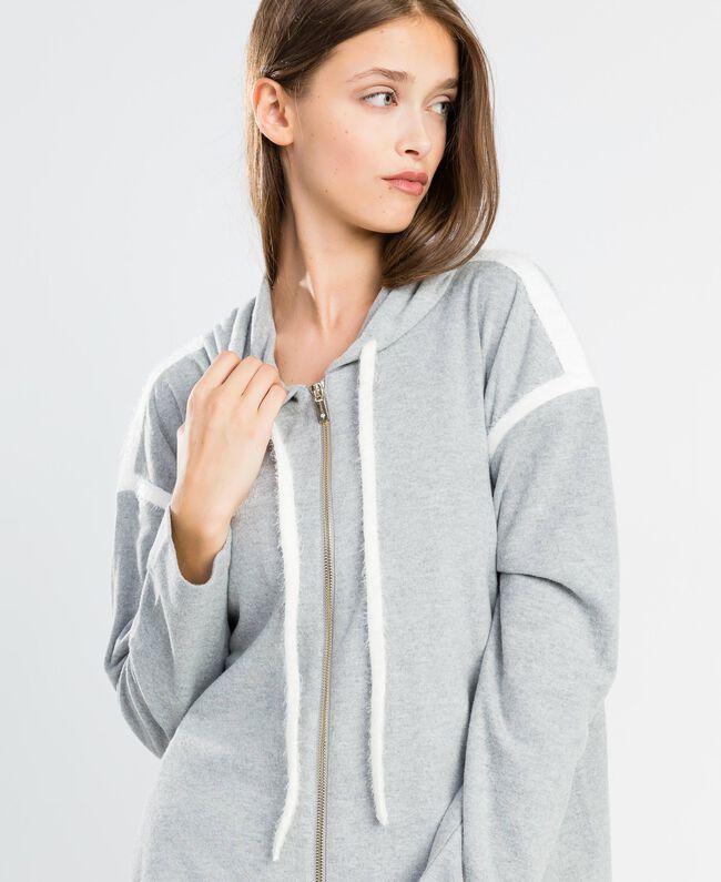 Cotton blend sweatshirt with hood Medium Gray Mélange Woman LA8MDD-04