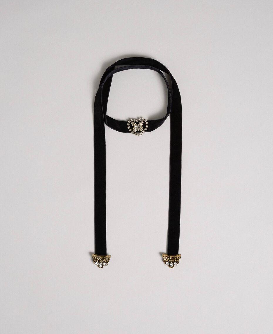 Collier ras-du-cou en velours avec cœur et papillon Noir Femme 192TO530E-02