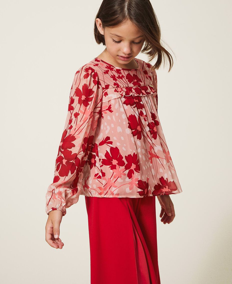 """Floral georgette blouse Peach / """"Cherry"""" Red Flowers Animal Print Child 202GJ262B-01"""
