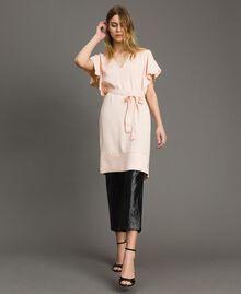 "Satin dress with belt ""Rose Sand"" Pink Woman 191TT2450-0T"