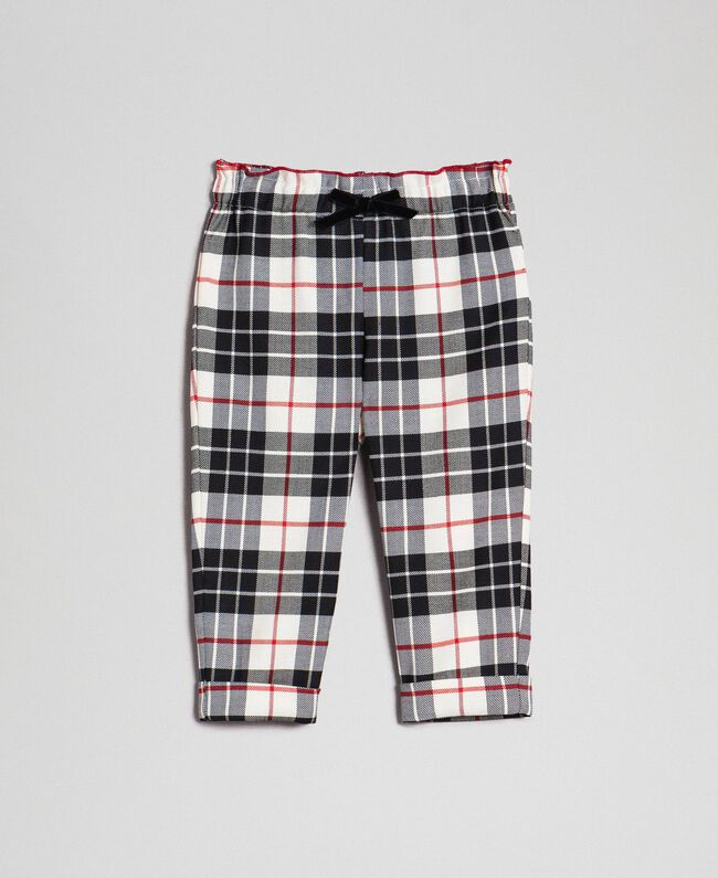 "Wool blend chequered trousers ""Snow"" White Tartan Jacquard Child 192GB2682-01"
