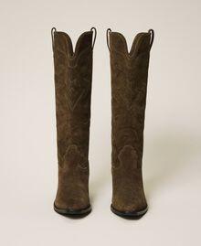Stivali texani in pelle scamosciata Dark Olive Green Donna 202TCP160-06