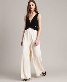 Two-tone satin and georgette jumpsuit Two-tone Ecru / Black Woman 191ST2191-02