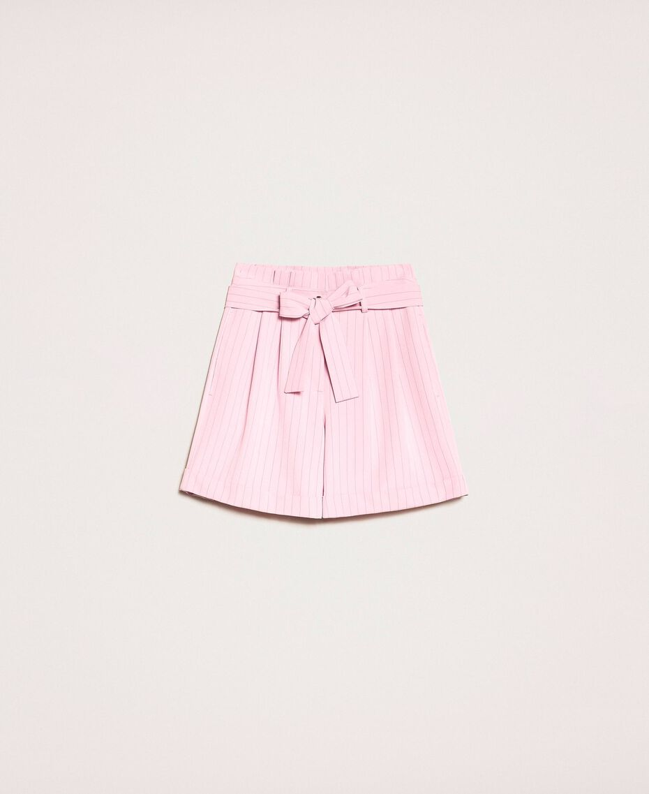 "Pin stripe shorts with belt ""Candy"" Pink Pin Stripe Jacquard Woman 201ST2082-0S"