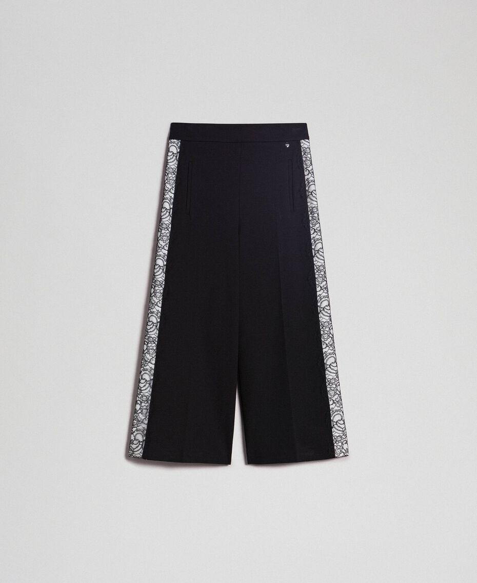 Wide-Leg-Hose mit Spitze Zweifarbig Schwarz / Schneeweiß Frau 192TP2097-0S