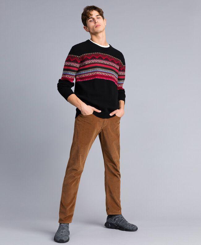 Multi-coloured jacquard wool blend jumper Black Jacquard / Black Man UA83HP-01
