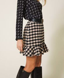Chequered bouclé mini skirt with flounce Two-tone Black / Nude Woman 202ST2153-02