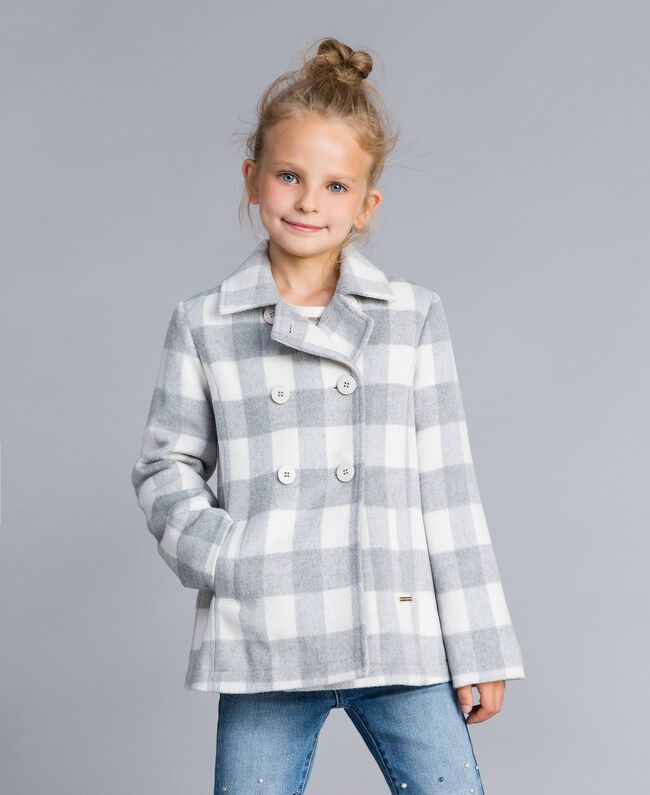 "Short check coat ""Grey Check"" / White Jacquard Child GA82CN-03"