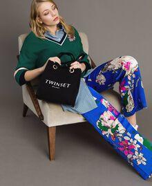 Pantalon palazzo en satin à motif floral Imprimé Anémone Sylvie Bleuet Femme 191TP2472-0T