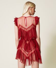 Pleated flounce short tulle dress Dark Raspberry Woman 212TP2201-03