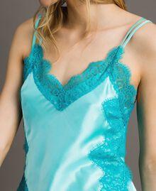 """Top en soie et satin mélangé agrémenté de dentelle Bicolore Bleu """"Turquoise Pastel"""" / Bleu Céramique Femme 191TT2092-04"""
