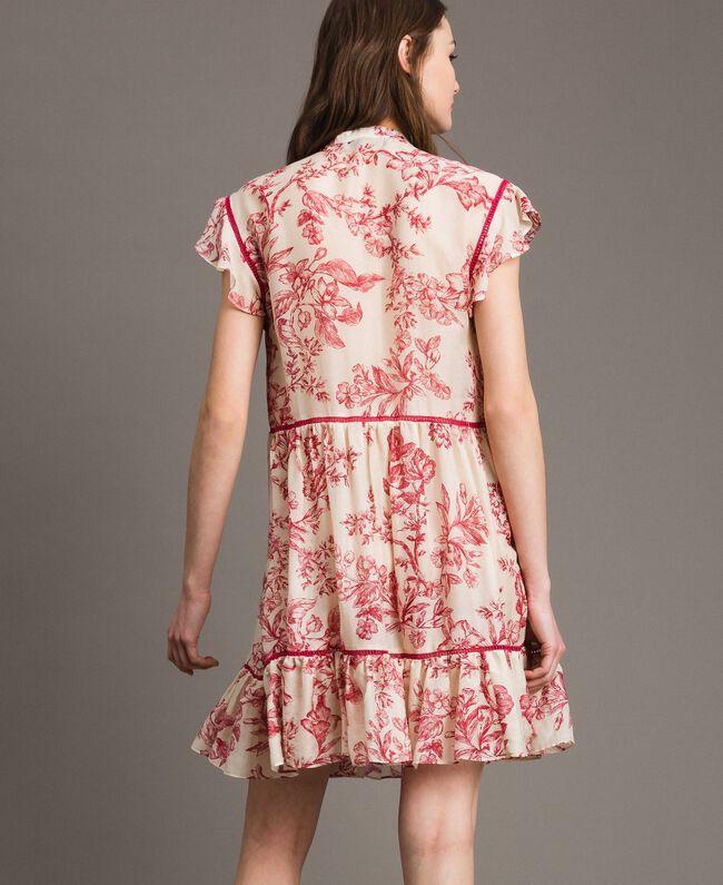 Kleid aus Seidenmischung mit Blumenprint Motiv Toile De Jouy Rot Frau 191TT2404-04