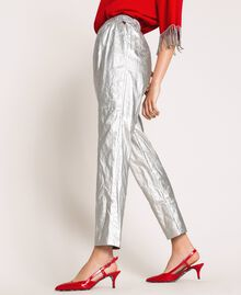 Laminated elasticated trousers Silver Woman 201TP2400-03
