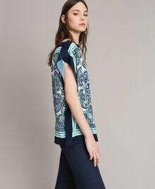 Шарф-блуза из крепдешина с принтом Ночной Синий Принт Для Шарфа женщина 191MT2122-02