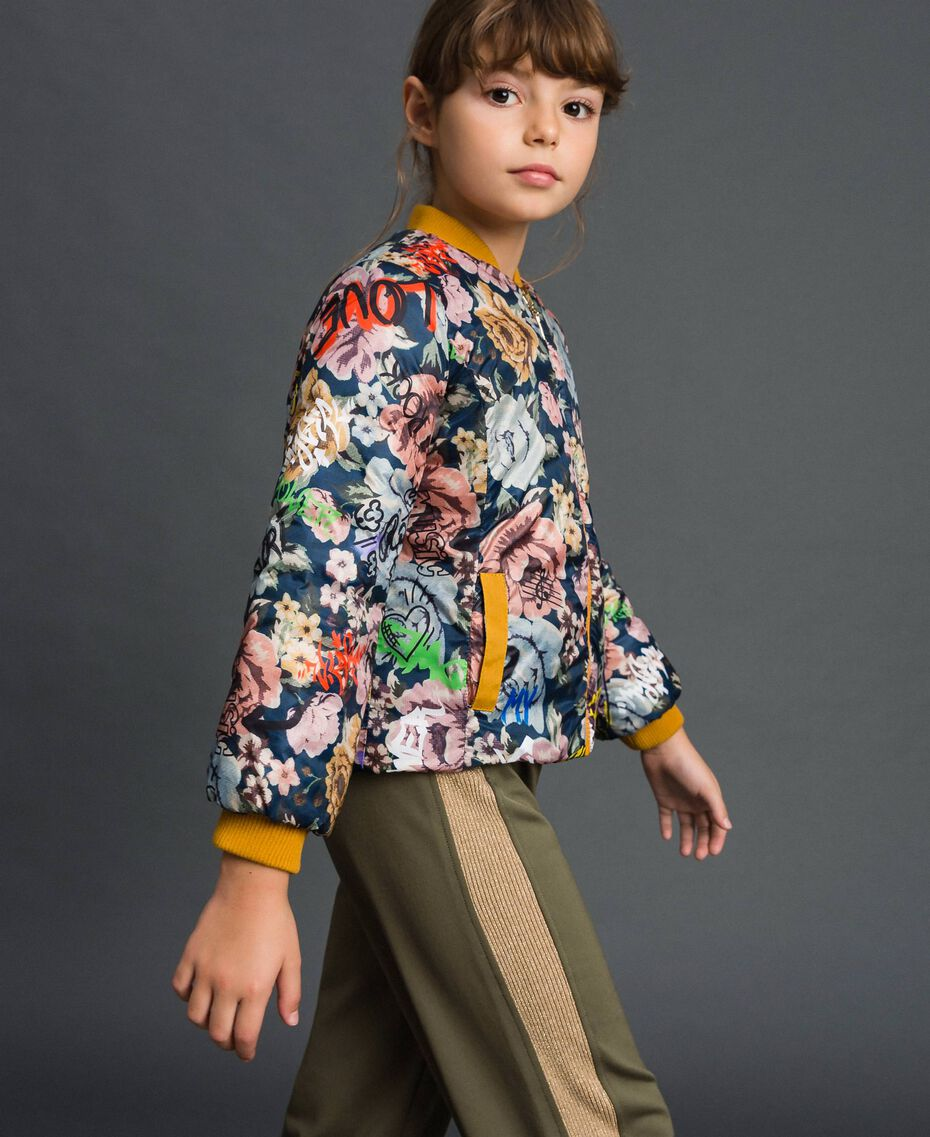 Reversible bomber-style puffer jacket Graffiti Print / Ochre Child 192GJ2120-02