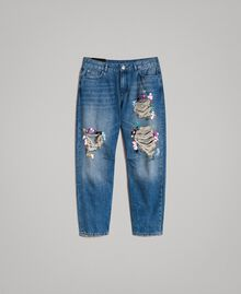 Destroyed girlfriend jeans with sequins Denim Blue Woman 191MT2184-0S