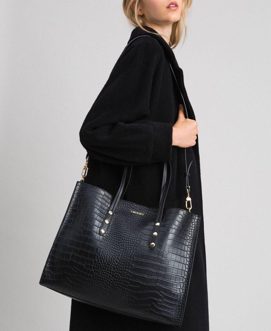 Grand sac cabas avec imprimé crocodile Imprimé Croco Noir Femme 192TA7274-0S