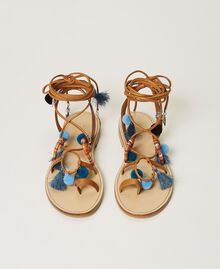 "Leather sandals with pompoms and charms ""Nautical Blue"" / ""Indigo"" Blue / Black Multicolour Woman 211TCT180-06"