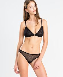 Flock polka dot tulle triangle bra Black Woman LA8K00-02