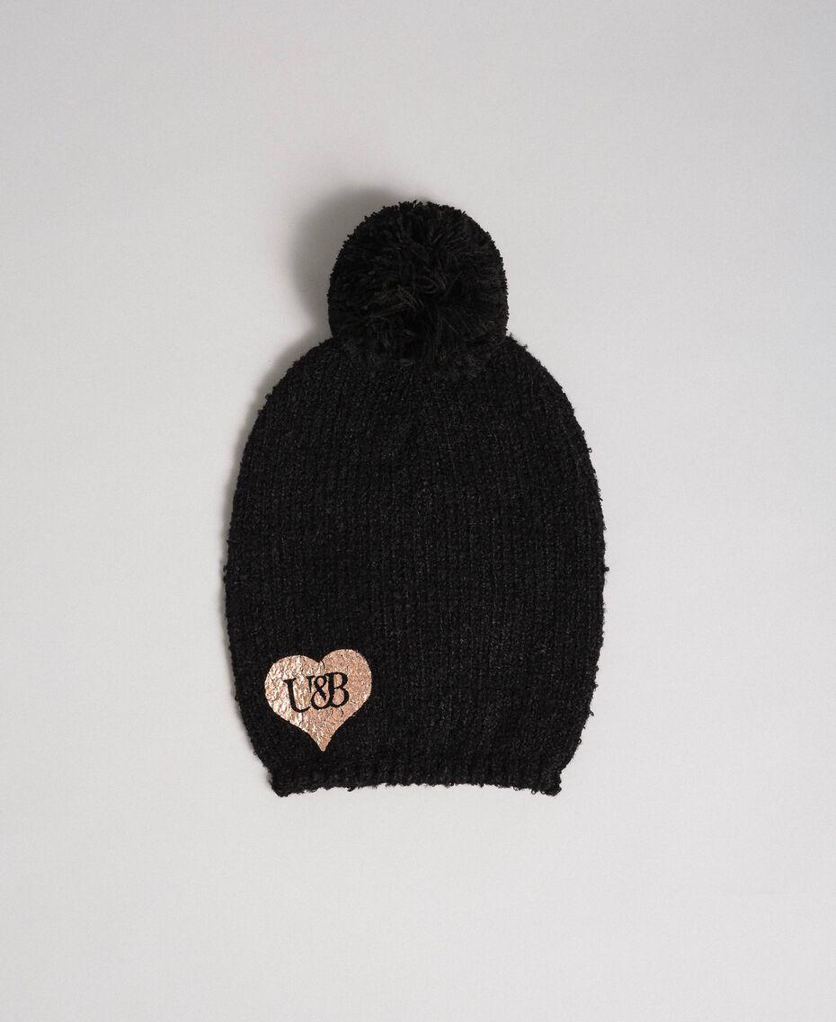 Bouclé yarn hat with heart Black Woman 192LL4ZCC-01