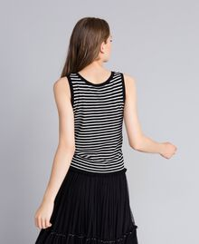 Two-tone striped top with ruches Black / Mother-of-pearl White Stripe Woman JA83BQ-03