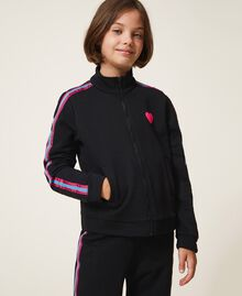 Sweatshirt with multicolour bands Black Child 202GJ2710-02