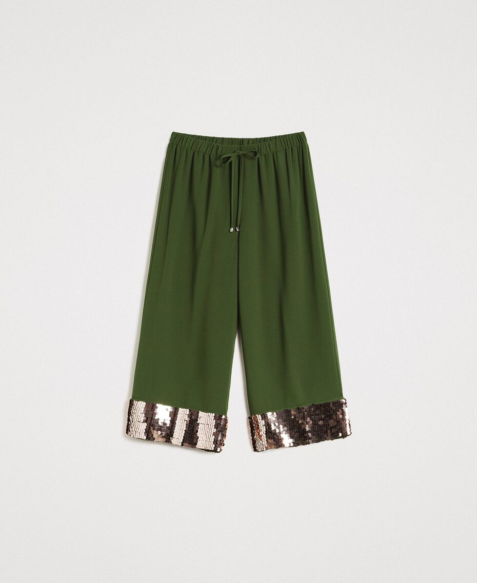 Cropped trousers with sequins Amazon Green Woman 191LM2CBB-0S