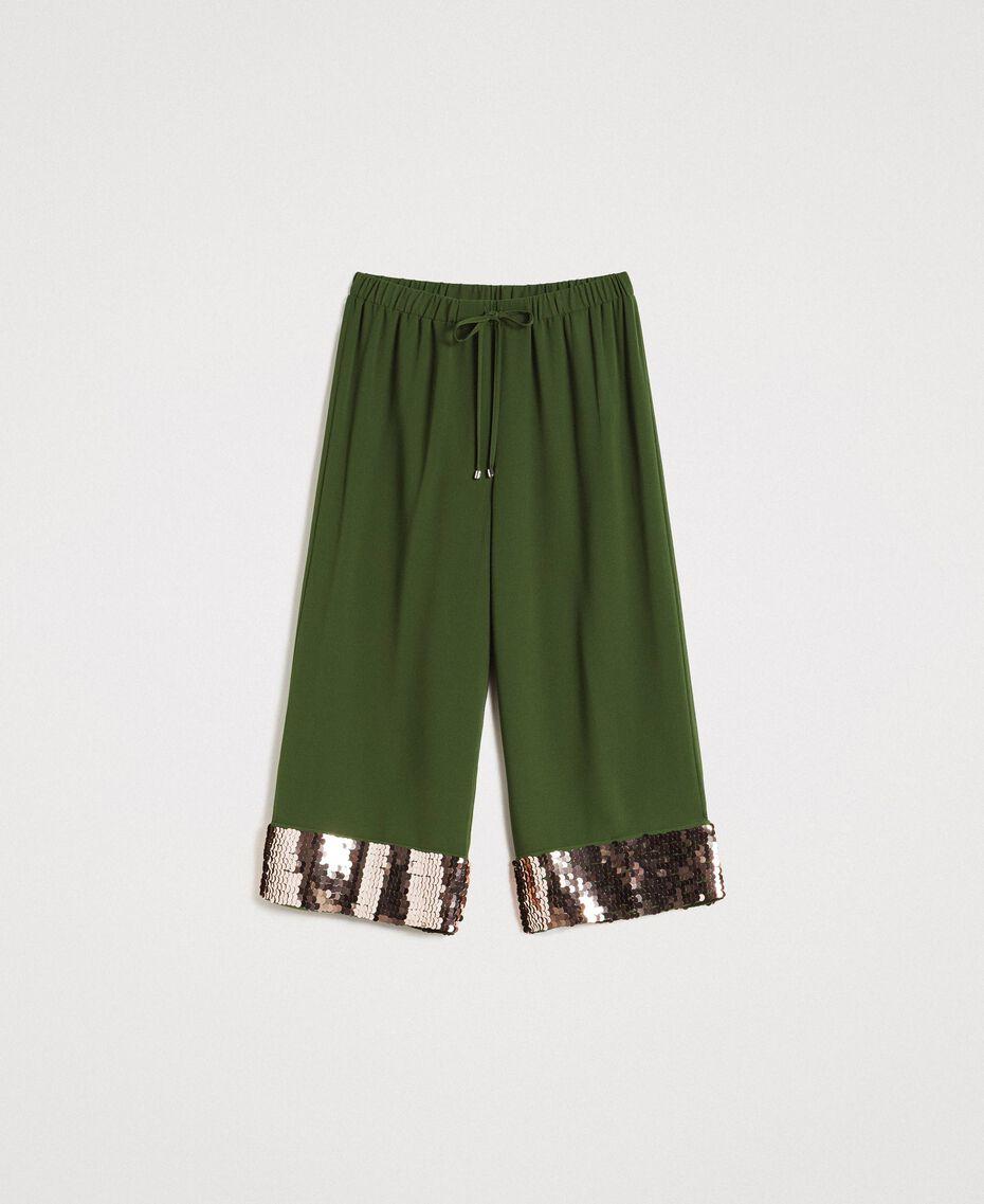 Pantalon cropped avec paillettes Vert Amazone Femme 191LM2CBB-0S
