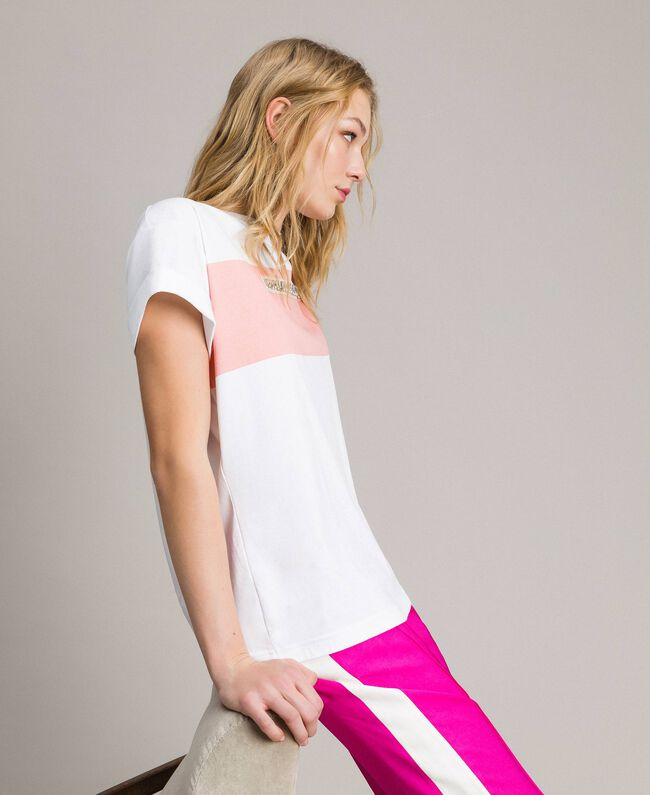 """Printed and embroidered T-shirt Two-tone Optical White / """"Macaron"""" Pink Woman 191TP2294-03"""