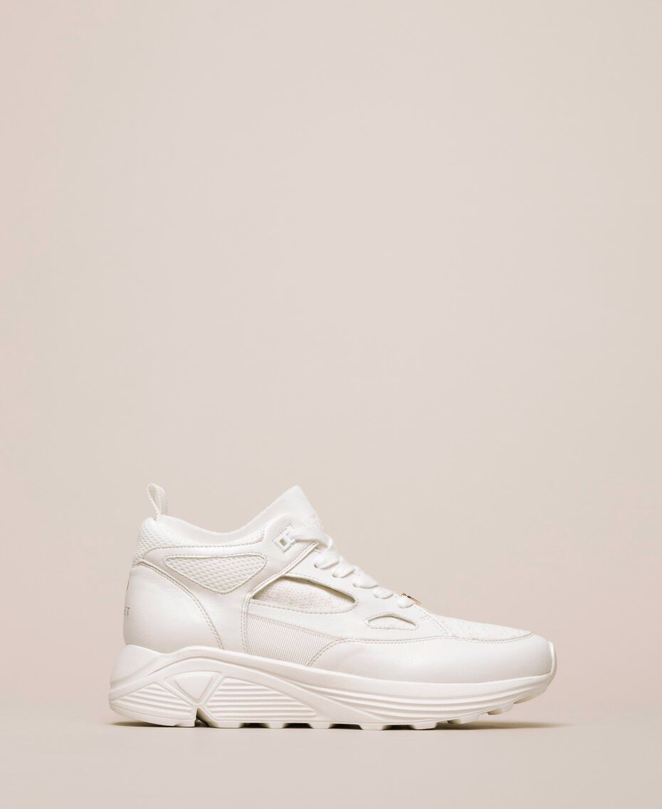 Faux leather and knit trainers Ivory Woman 201LLPZBB-03