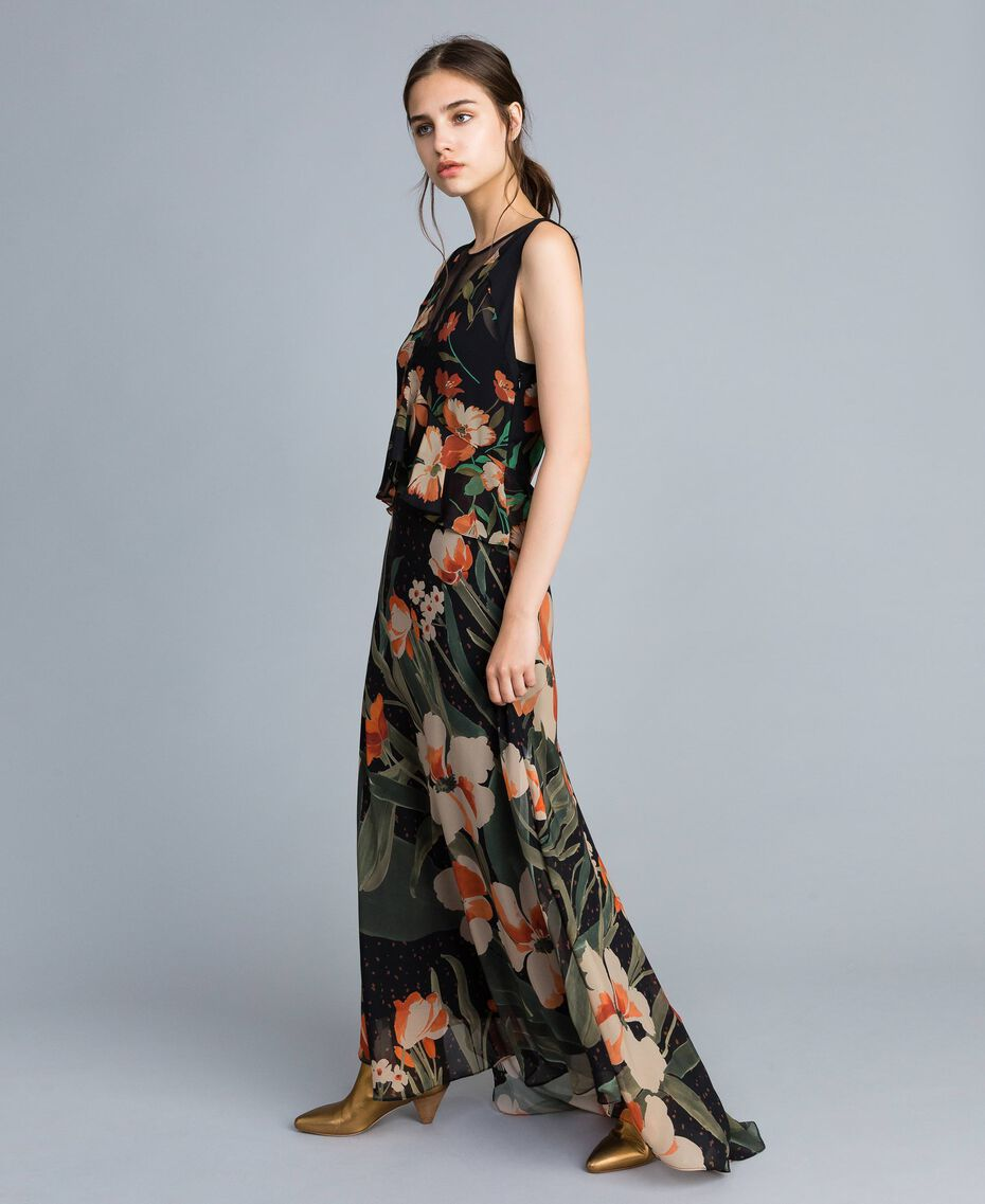 "Long chiffon dress with floral print Black Tulip and ""Tea Garden"" Print Woman TA825P-02"