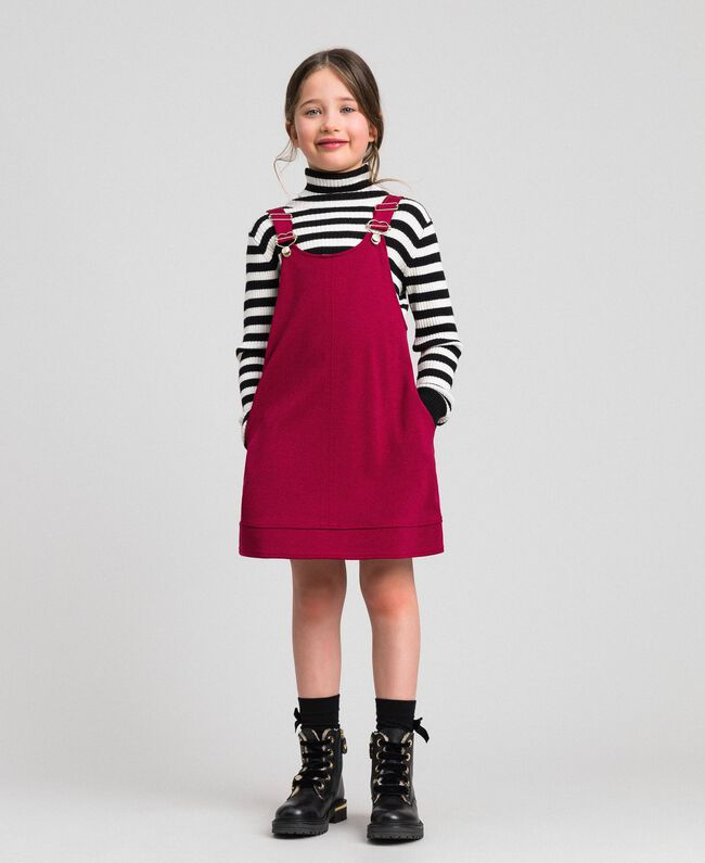Pinafore dress with pockets Ruby Wine Red Child 192GJ2223-01