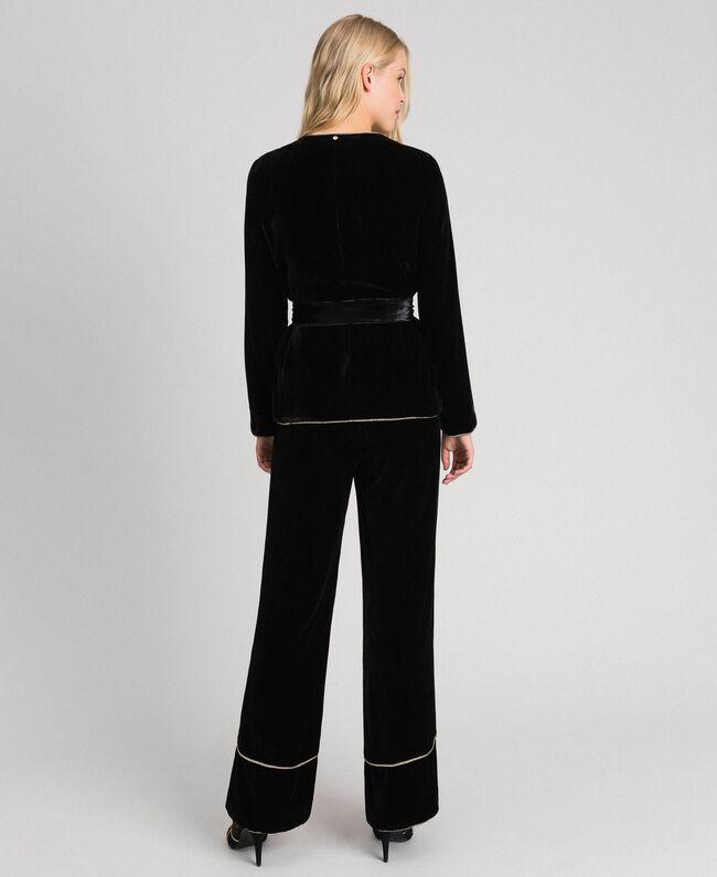 Pantalon palazzo en velours Noir Femme 192TT2425-03