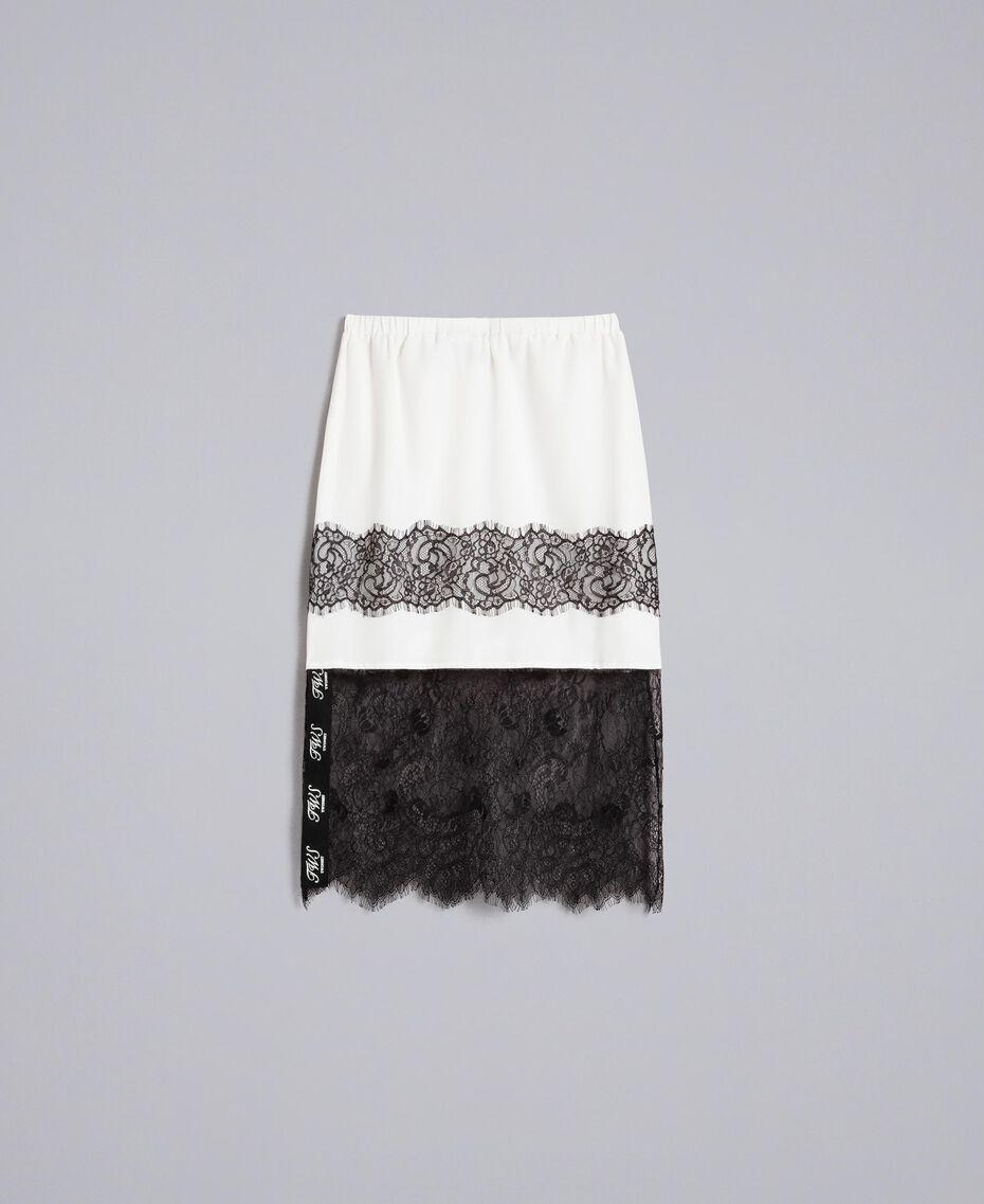 Jupe mi-longue en soie Blanc Neige Femme PA82EP-0S