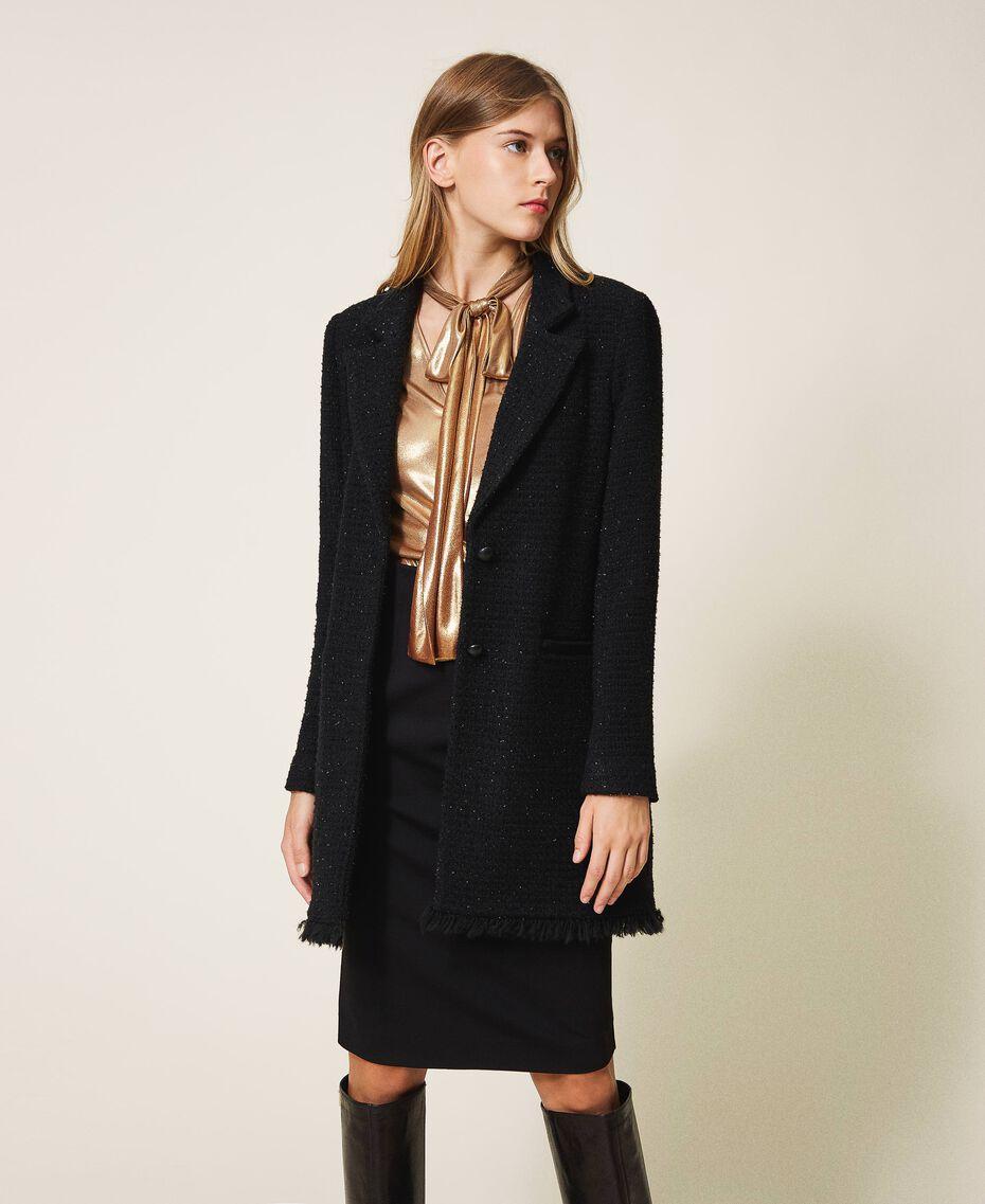 Manteau léger en laine mélangée bouclée Noir Femme 202TT217A-01