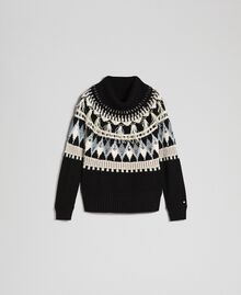 Jacquard jumper with embroideries and feathers Black Fair Isle Jacquard Woman 192TT3311-0S