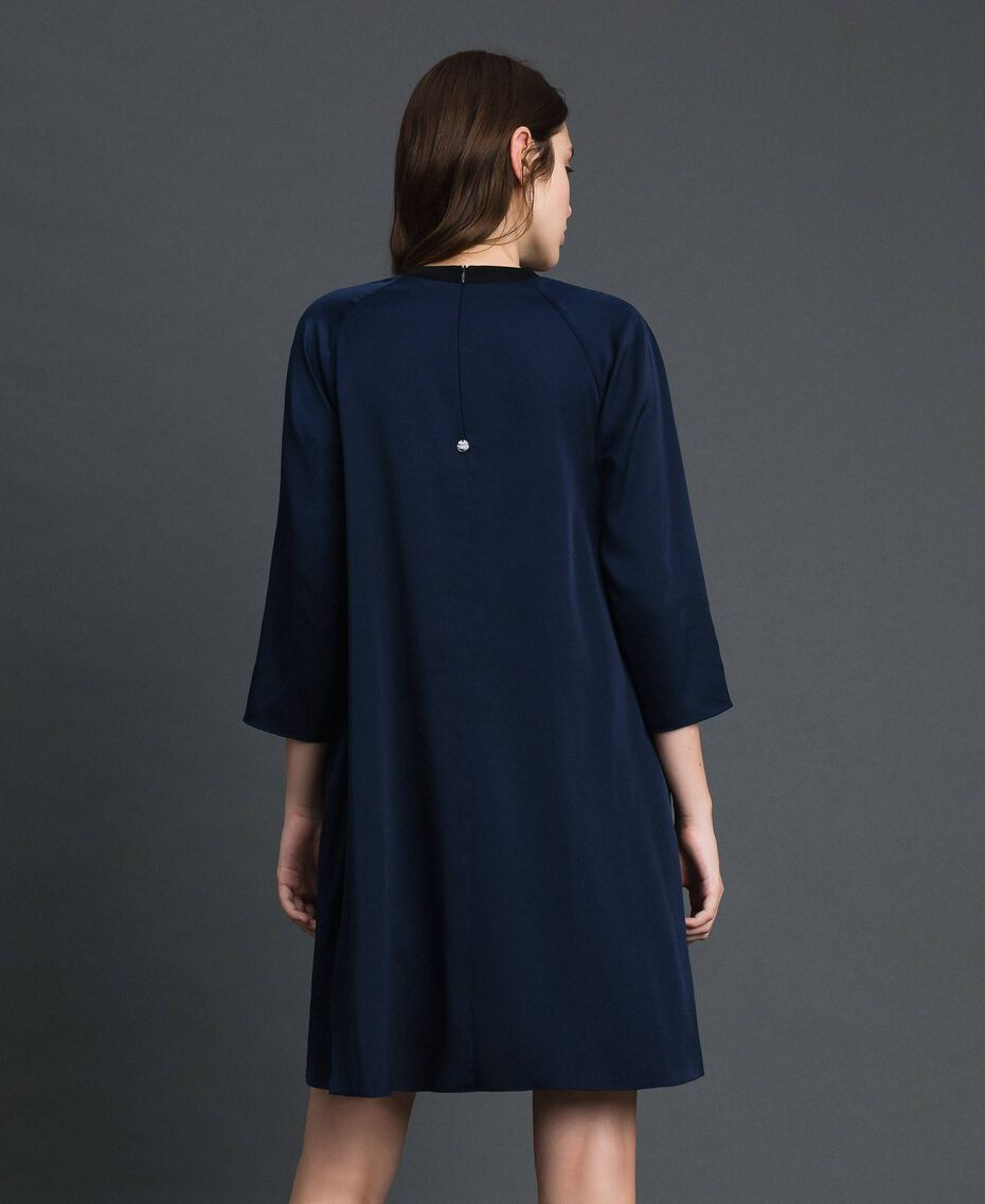 Pleated dress with three-quarter sleeves Night Blue Woman 192ST2091-03