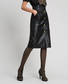 Jupe mi-longue en similicuir Noir Femme 192TT203B-02
