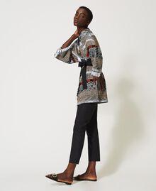 Jacquard maxi cardigan with fringes Multicolour Jacquard Textured Woman 211TT3271-03