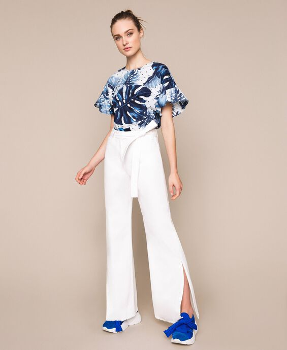 Wide leg white jeans with belt