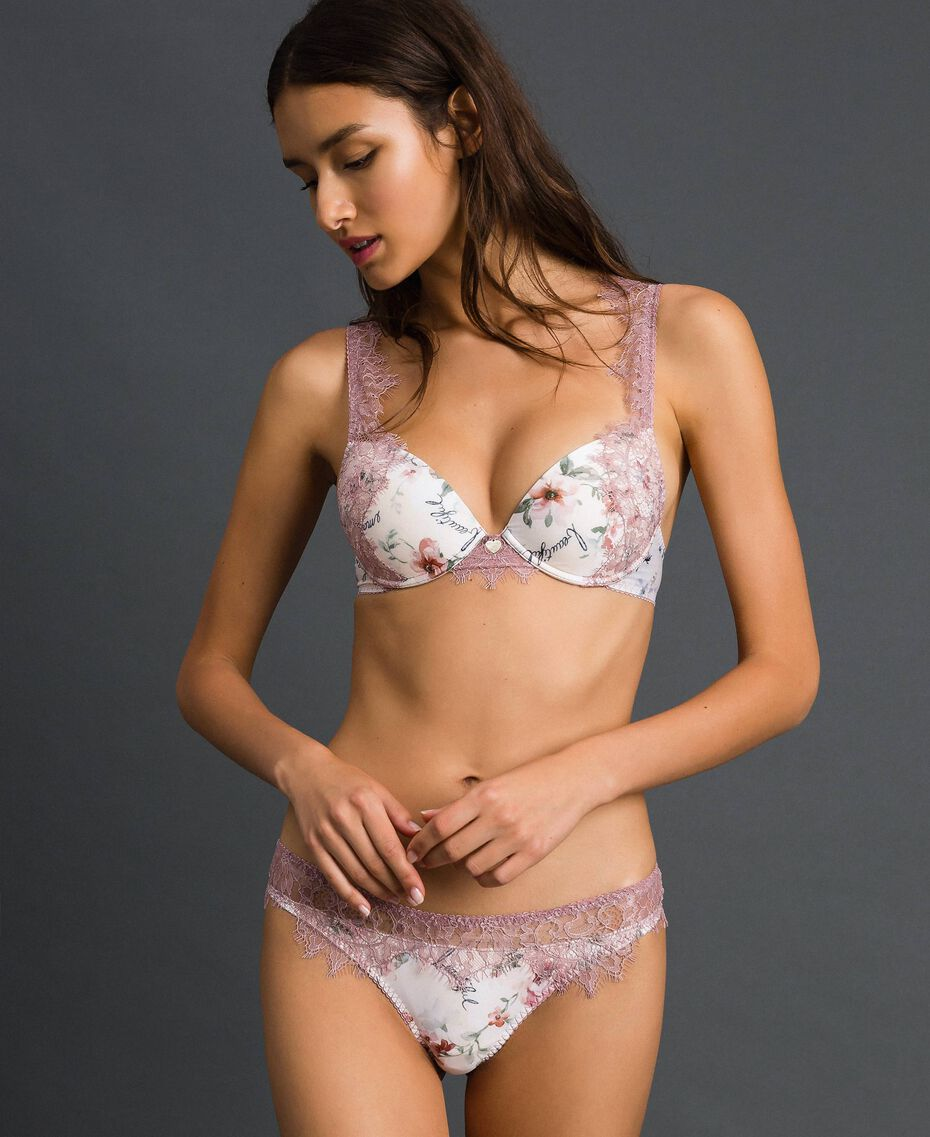 Floral G-string with lace Ivory Floral Print Woman 192LI6588-01