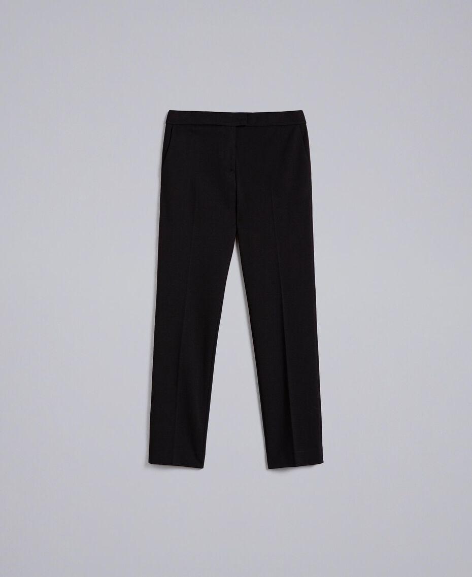 Pantalon cigarette en point de Milan Noir Femme PA8219-0S